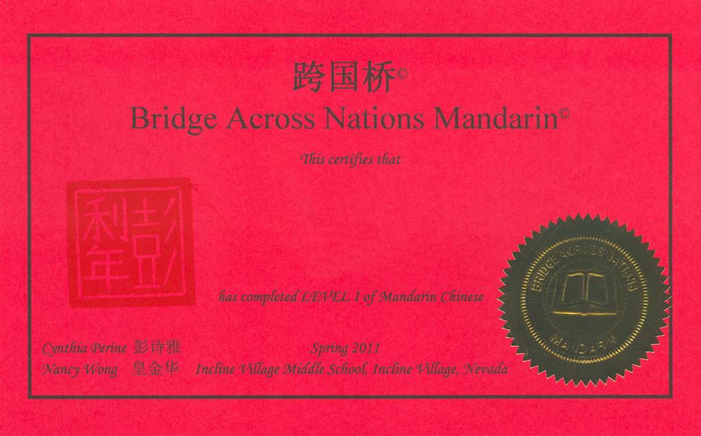 BAN Mandarin Certificate